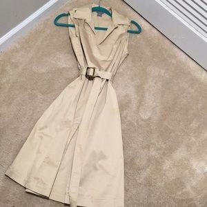 Ann Taylor Khaki/ Beige Pleated Dress
